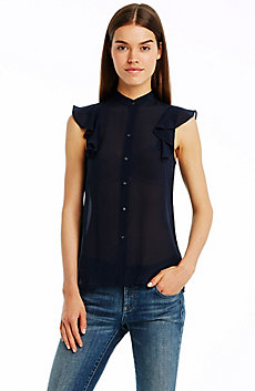 Flutter Cap Sleeve Silk Shirt
