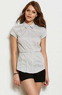 Short Sleeve Seamed Poplin Shirt<br>Online Exclusive