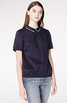 Short-Sleeve Collared Blouse