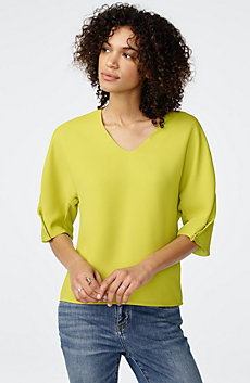 Structured V-Neck Blouse