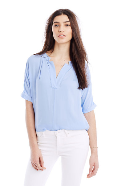 Satin Notch V-Neck Blouse