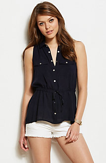 Sleeveless Hi-Low Hem Tunic Blouse