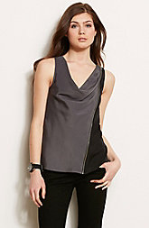 Zippered Cowl Neck Tank