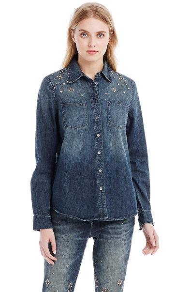 Embellished Denim Shirt