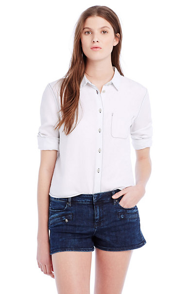 Cropped Denim Shirt