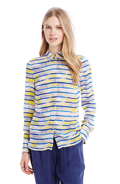 Painterly Stripe Silk Shirt