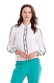 Piped Silk Blouse