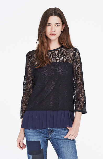 Long-Sleeve Lace Overlay Top