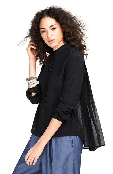 Silk-Blend Pleated Blouse