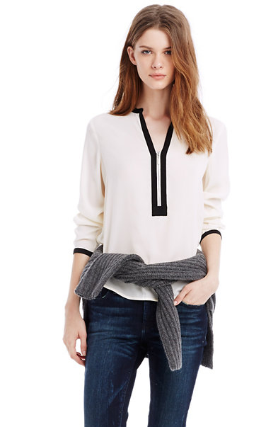 Colorblock Zipper Blouse