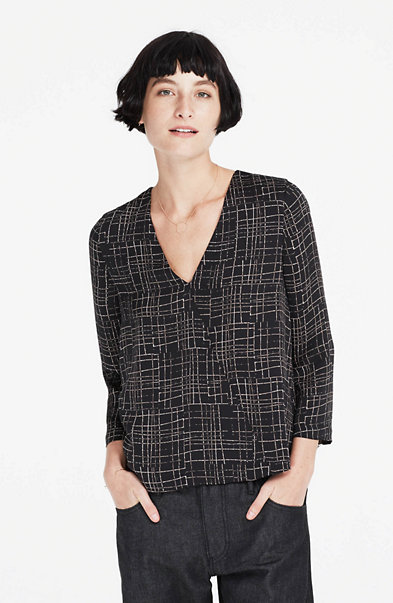 Crosshatch V-Neck Blouse