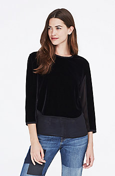 Three-Quarter Sleeve Velvet Top