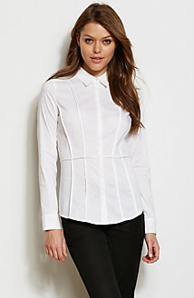 Long Sleeve Seamed Poplin Shirt<br>Online Exclusive