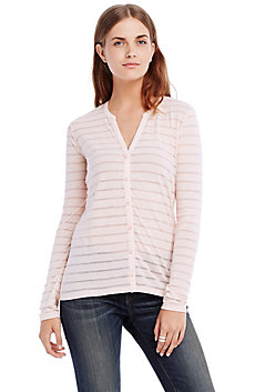 Burnout Stripe Pima Cotton Cardigan