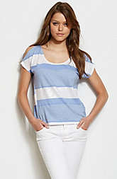 Cold Shoulder Embellished Stripe Top