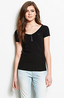 Zip Front Ribbed Top
