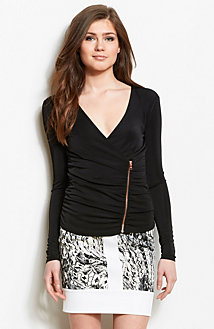 Zippered Drape Front Top<br>Online Exclusive