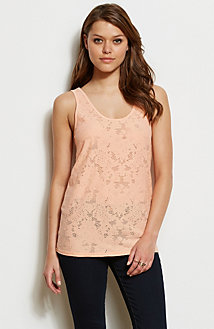 Zippered Lace Tank
