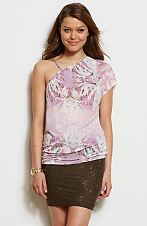 Printed One Shoulder Top