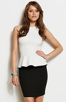 Trimmed Ponte Peplum Top