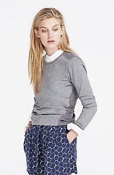 Woven Back Sweatshirt
