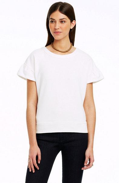 Ruffle Short Sleeve Sweatshirt