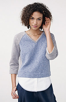 Double Layer Knit Sweatshirt