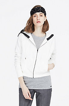 Marled & Faux Leather Hoodie