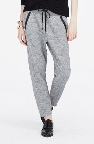 Marled & Faux Leather Sweatpants