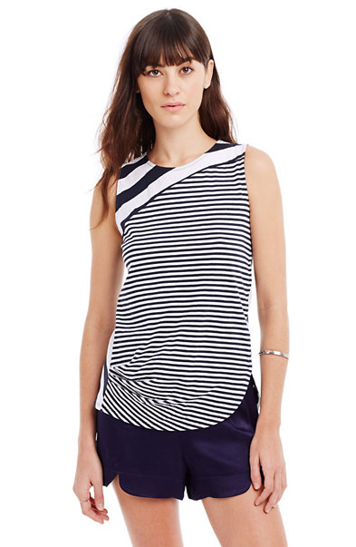 Draped Stripe Top