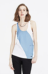 Chambray Striped Tank Top