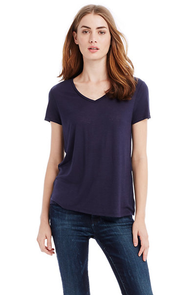Button Back V-neck