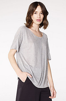 Pleated Short-Sleeve Dolman Top