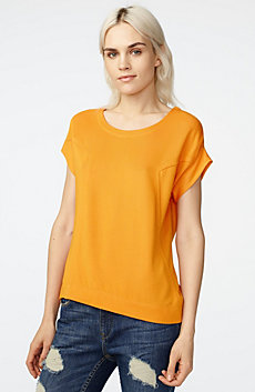 Seamed Roll-Sleeve Top