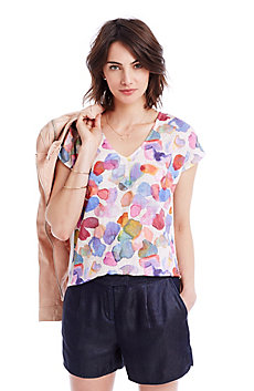Petal Print Mixed V-Neck