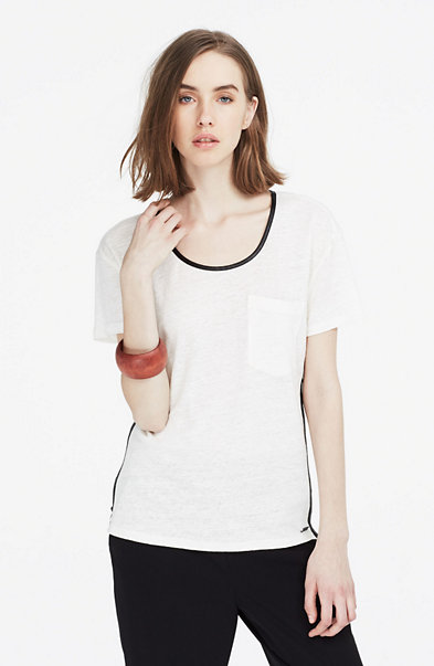 Faux Leather & Linen Tee
