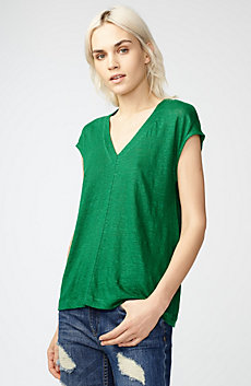 Linen Cap-Sleeve Top