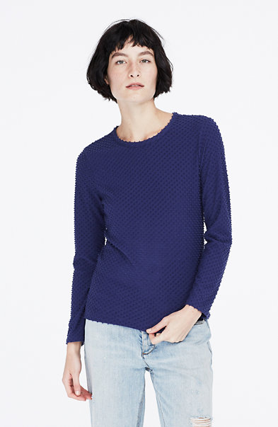 Long-Sleeve Dot Jacquard Tee