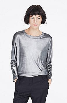 Metallic Foil Long-Sleeve Top
