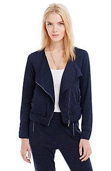 Asymmetrical Melange Track Jacket