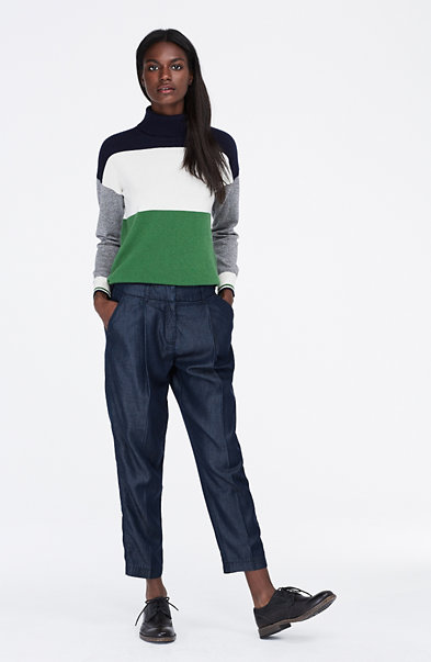 Cashmere Colorblock Turtleneck