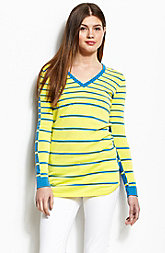Contrast Stripe V-Neck Sweater