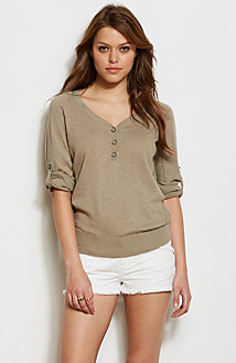 Metallic Accent Henley