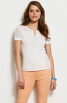Zip Front Mesh Stripe Top