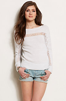 Crochet Stripe Sweater<br>Online Exclusive