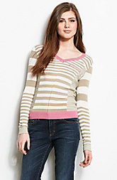 Button Back Striped V-Neck Sweater<br>Online Exclusive