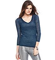 Open Stitch Lurex V-Neck Sweater