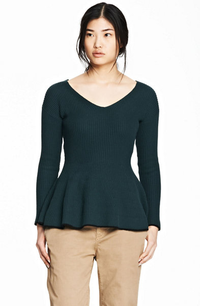 Ribbed Peplum Contrast Sweater
