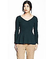 Ribbed Peplum Contrast Sweater