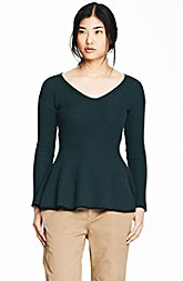 Ribbed Peplum Contrast Sweater<br>Online Exclusive